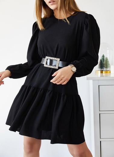 XHAN Eteği Fırfırlı Kolu Lastikli Elbise 9Kxk6-43299-02 Siyah